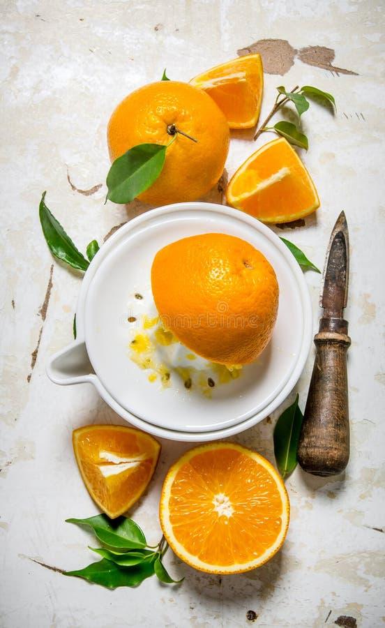 Sammanpressning av fruktsaft från nya apelsiner royaltyfria bilder
