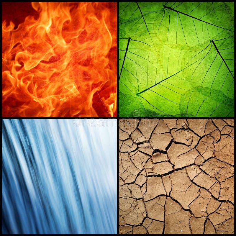 Sammansättning av de fyra naturliga beståndsdelarna arkivfoto