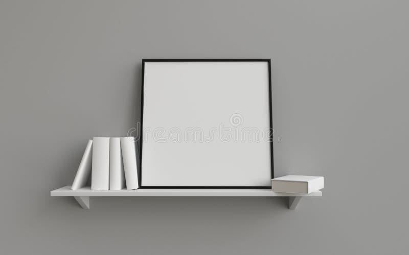 Sammansättning av den fyrkantiga bildmellanrumsramen på en hylla med böcker stock illustrationer