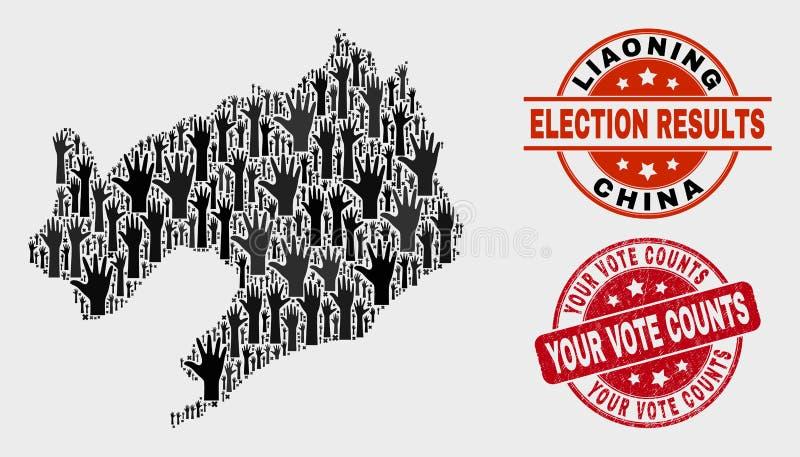 Sammansättning av den val- Liaoning landskapöversikten och bedrövar ditt röstar räkningar stämplar skyddsremsan royaltyfri illustrationer