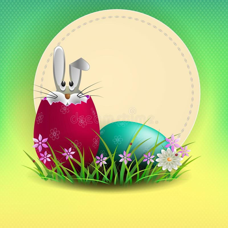 Sammansättning av ett ljust - grön skugga med en rund ram och påskägg och en kanin, stock illustrationer