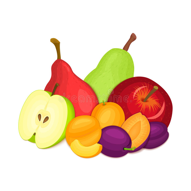 Sammansättning av flera plommoner, äpplen, päron och aprikos Den mogna vektorn bär frukt aptitretande se för hel skiva grupp stock illustrationer