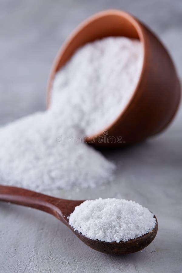 Sammansättning av havet som är salt i den keramiska bunke och skeden för att laga mat eller brunnsorten på vit bakgrund, bästa si royaltyfria foton