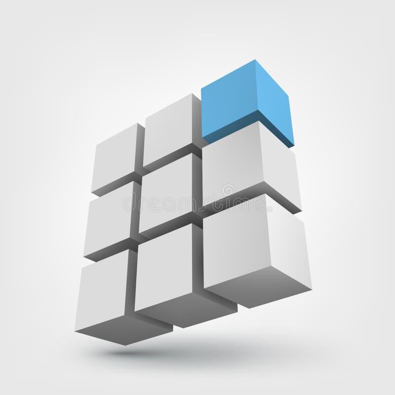 Sammansättning av kuber 3d vektor illustrationer