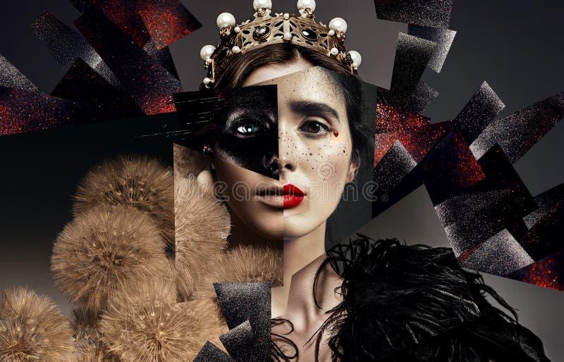 Sammansättning av kvinnastående med kronan, fjädrar och maskrosor royaltyfri bild