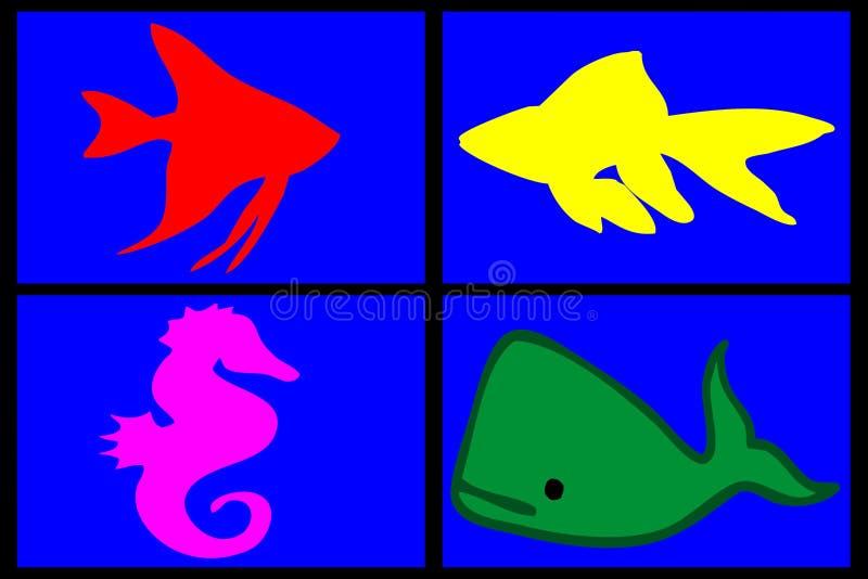 Sammansättning av marin- djur royaltyfri foto