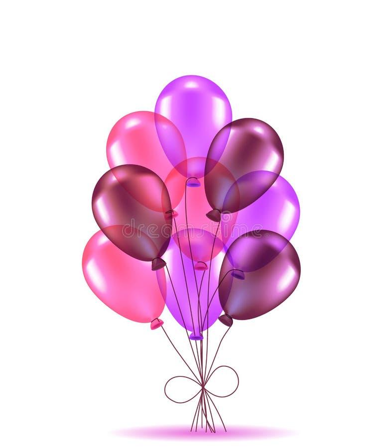 Sammansättning av rosa ballons vektor illustrationer