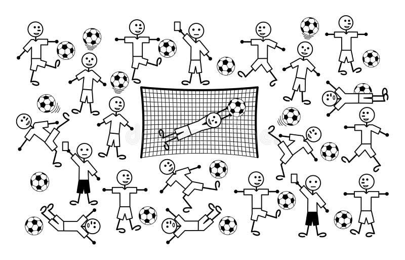Sammansättning av tecknad filmteckningar av små män Fotboll och fotboll dölja vektor för orm för jaktmazebild stock illustrationer