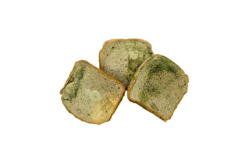 Sammansättning av tre skivor av vitt bröd med formen som isoleras på vit bakgrund arkivbilder