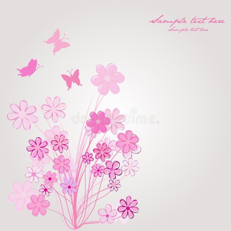sammansättning blommar den rosa fjädern royaltyfri illustrationer