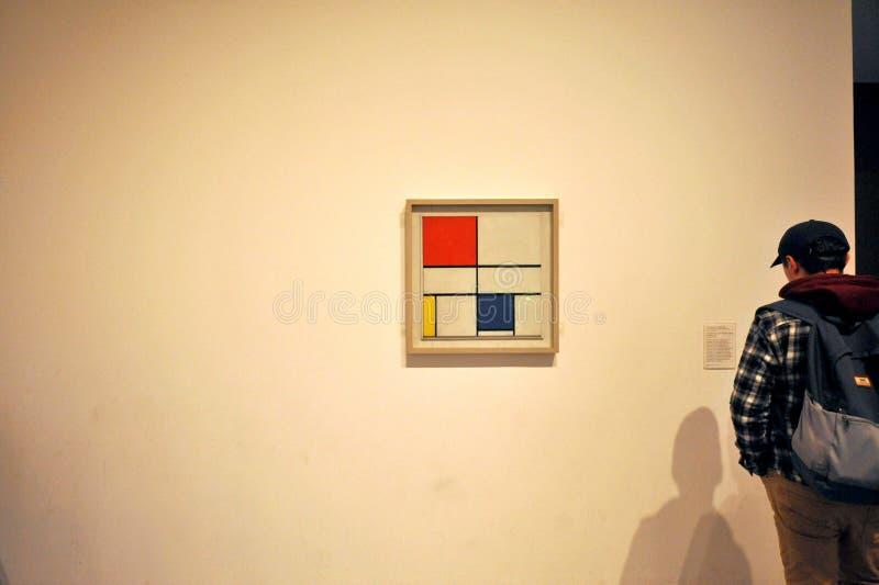 Sammansättning C med rött, gult och blått av Piet Mondrian på Tate Modern, London royaltyfria foton