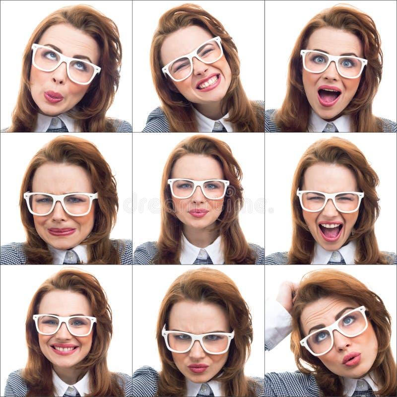 Sammansättning eller collage av olika lottuttryck arkivfoton