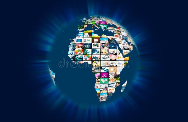 Sammansättning för abstrakt begrepp för jordklot för värld för televisionTV-sändningmultimedia stock illustrationer