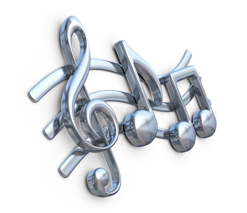 sammansättning för bakgrund 3d isolerade metallisk musikanmärkningswhite Musiksammansättning stock illustrationer
