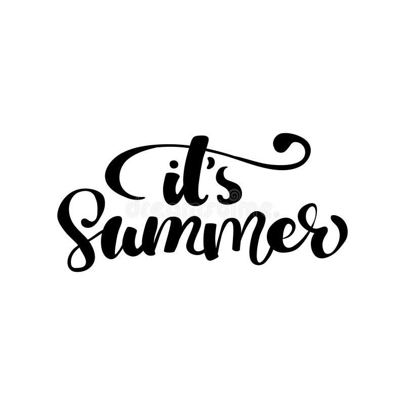 Sammansättning för bokstäver för vektorillustrationborste av sommarsemestern som isoleras på vit bakgrund stock illustrationer