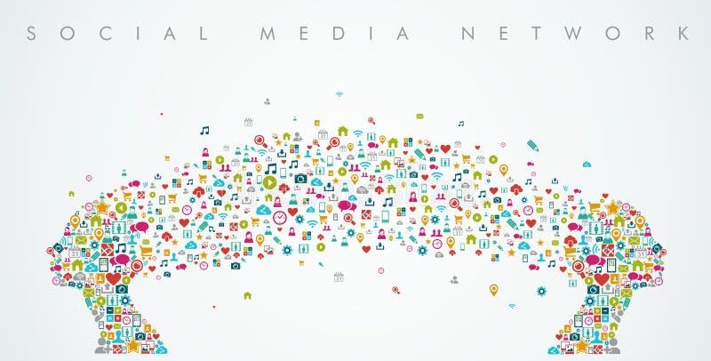 Sammansättning för nätverk för massmedia för kvinnahuvudform social stock illustrationer