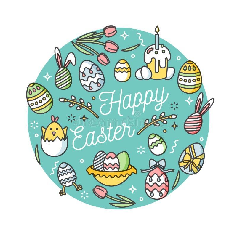 Sammansättning för påskägg Färgrika linjära symboler på vit bakgrund Dekorativ cirkel med dekorativa ägg lyckliga easter stock illustrationer