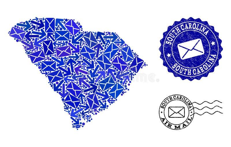 Sammansättning för posttrafik av den mosaiska översikten av södra Carolina State och skrapade skyddsremsor stock illustrationer
