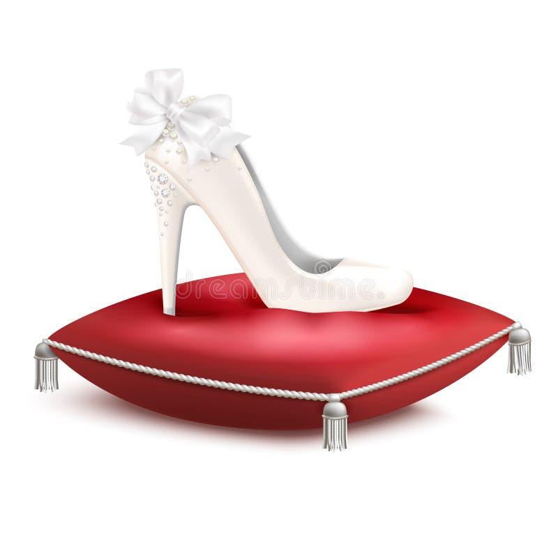 Sammansättning för prinsessa Shoe Pillow Realistic royaltyfri illustrationer