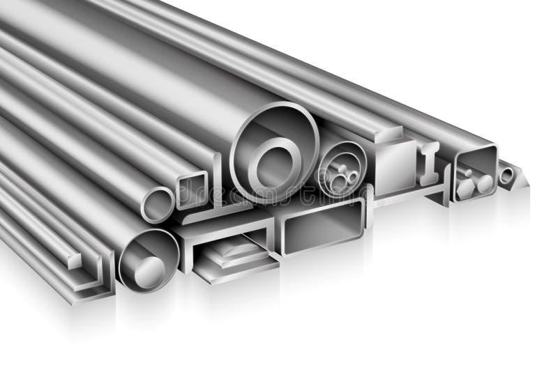Sammansättning för profil för strukturellt stål realistisk royaltyfri illustrationer