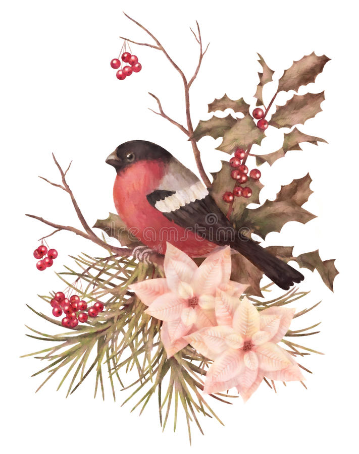 Sammansättning för retro vattenfärg för jul dekorativ royaltyfri illustrationer