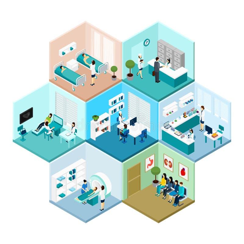 Sammansättning för sexhörnig mosaik- modell för sjukhus isometrisk royaltyfri illustrationer