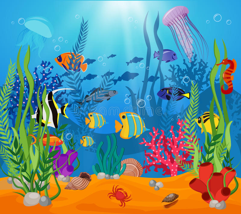Sammansättning för växter för djur för havsliv stock illustrationer