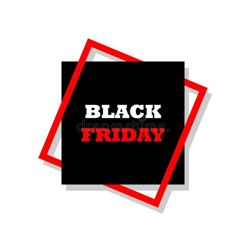 Sammansättning för vektorillustrationtypografi med bokstäver av Black Friday i ram på mörk bakgrund Specialt erbjudande vektor illustrationer