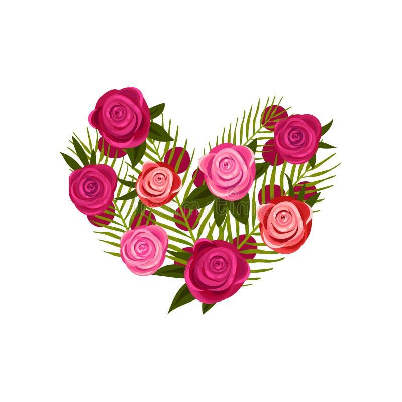 Sammansättning i form av hjärta från olika rosor white f?r vektor f?r bakgrundsillustrationhaj stock illustrationer