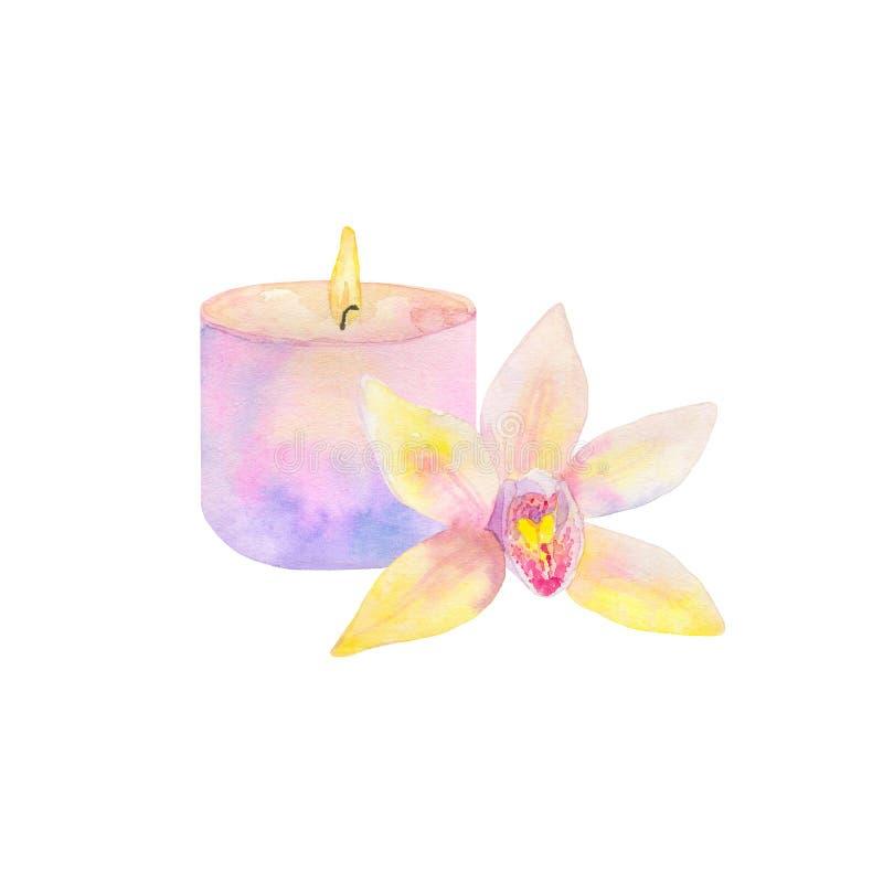 Sammansättning med bränningstearinljuset och orkidéblomman Hand dragen vattenfärgillustration bakgrund isolerad white royaltyfri illustrationer