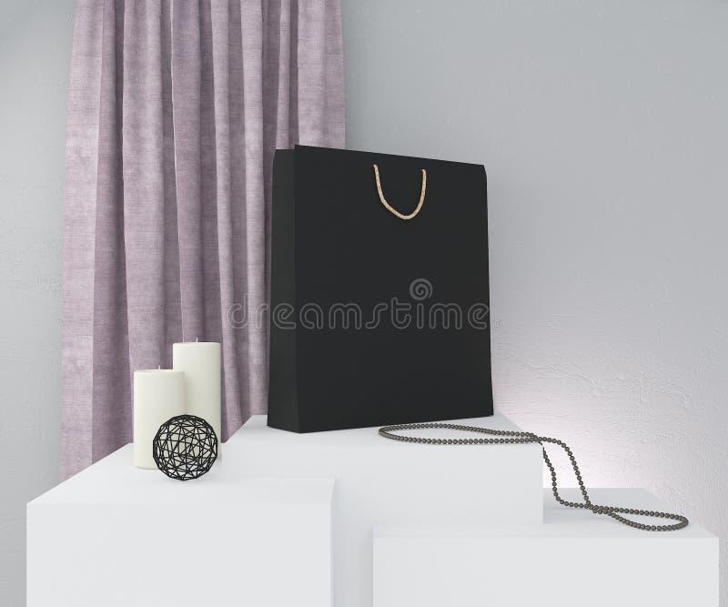Sammansättning med den svarta pappers- påsen, steg gardinen, stearinljus och dekoren på den gråa väggen framf?rande 3d stock illustrationer