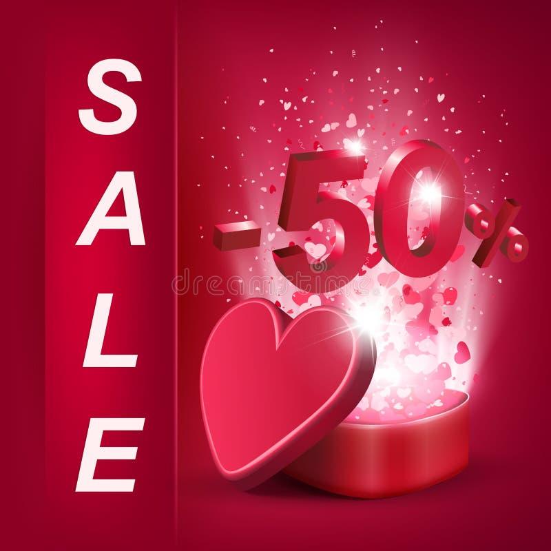 Sammansättning med en röd ask och en uppsättning av hjärtor med numret femtio, vektor illustrationer