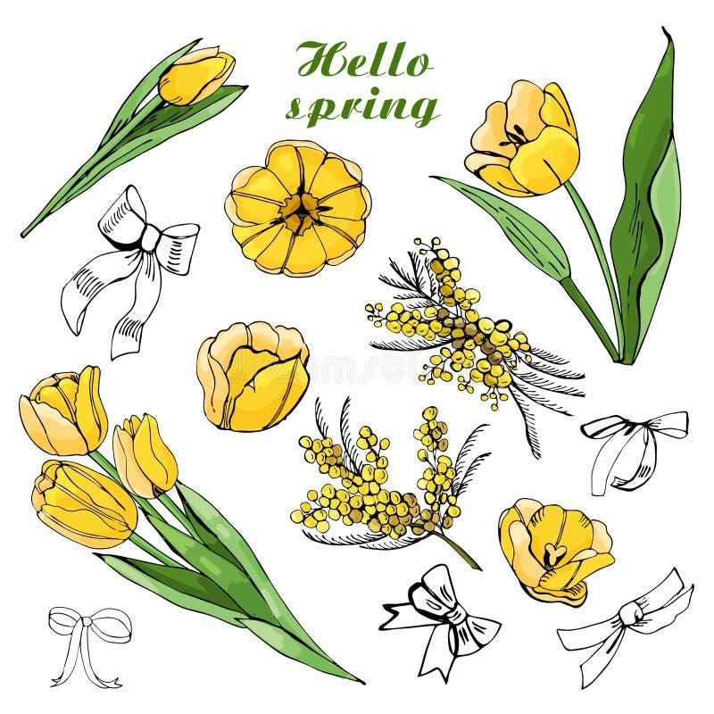 Sammansättning med gula tulpanbuketter, blommor, sidor och pilbågar stock illustrationer