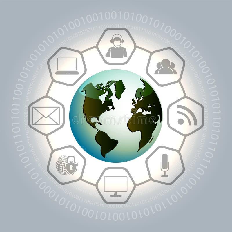 Sammansättning med jordklotet, numren och symbolerna av sociala nätverk royaltyfri illustrationer
