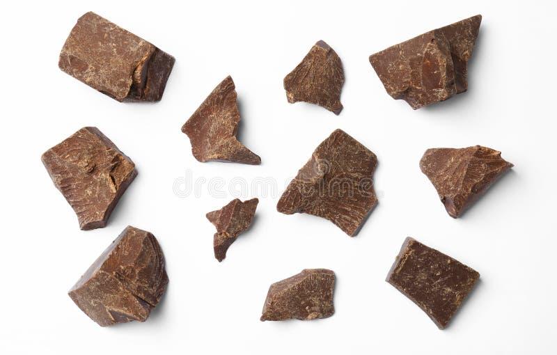 Sammansättning med läckra chokladstora bitar royaltyfria bilder