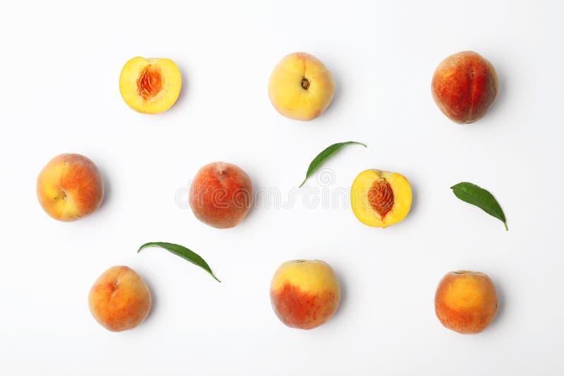 Sammansättning med nya söta persikor på vit bakgrund fotografering för bildbyråer