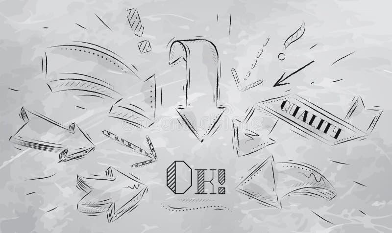 Sammansättning som pekar det ok teckningskolet vektor illustrationer