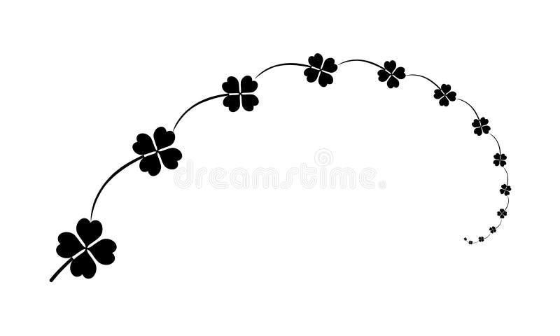 Sammansättning växter av släktet Trifolium med fyra sidor undertecknar, svarta designbeståndsdelar för quatrefoil för St Patrick  royaltyfri illustrationer