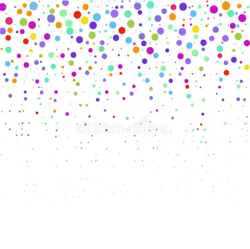 Sammansättningen från mångfärgade prickar på vit bakgrund stock illustrationer