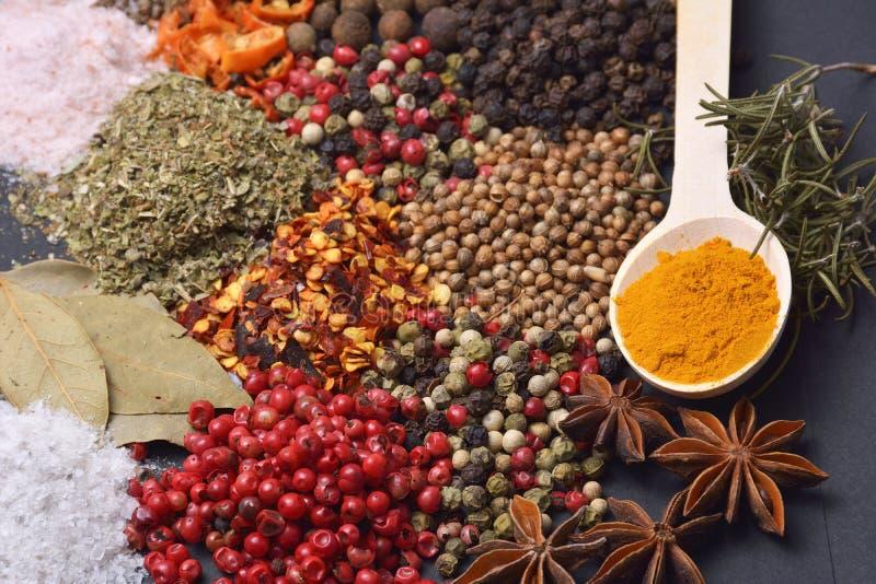 Sammansättningen med olika kryddor och örter royaltyfri bild