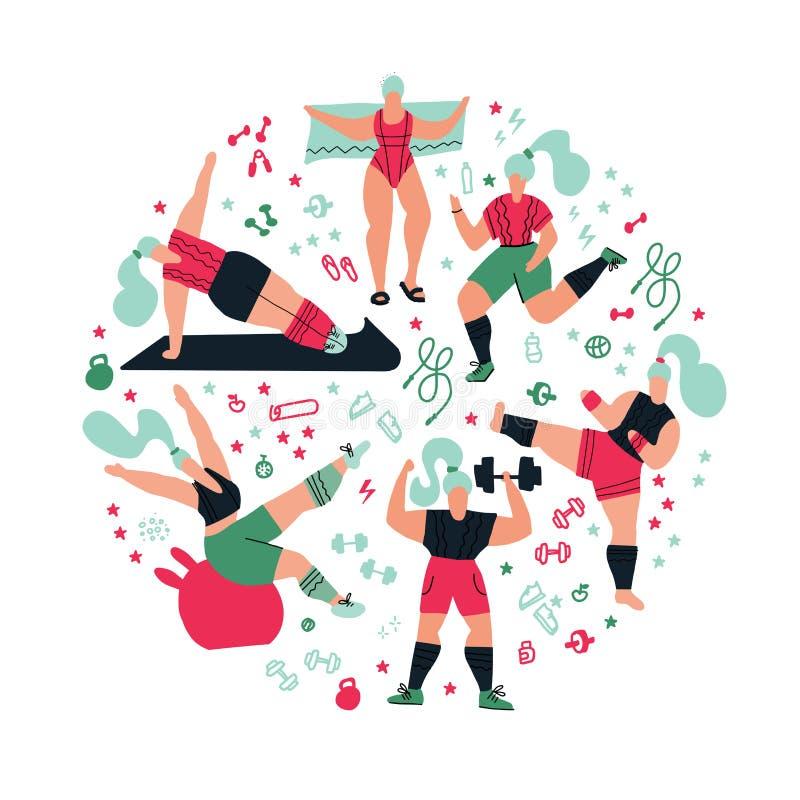Sammansättningsgenomkörare för rund form i idrottshallen på vit bakgrund Kvinnor som g?r sportar Poserar av yoga och att kickboxi stock illustrationer