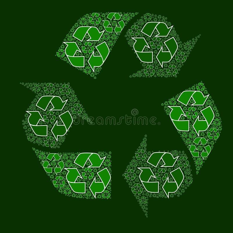 Sammansatt återvinningtecken royaltyfri illustrationer