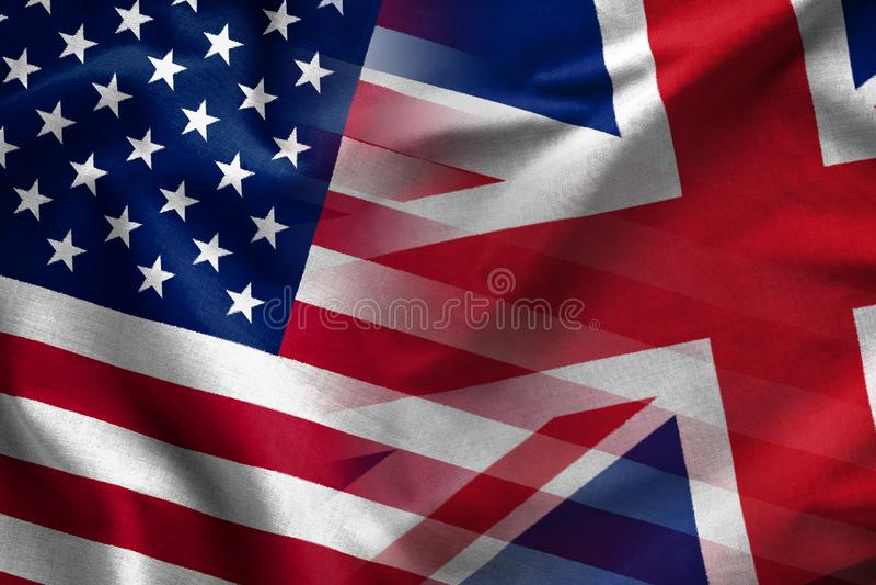 Sammansatt bakgrund av flaggorna av UK och USA royaltyfri foto
