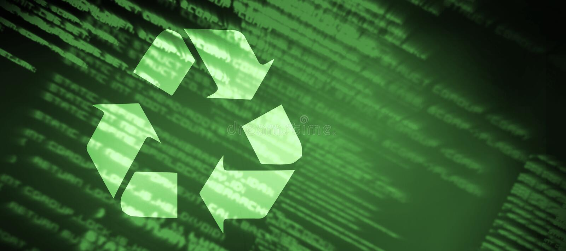 Sammansatt bild av återvinningsymbolet stock illustrationer