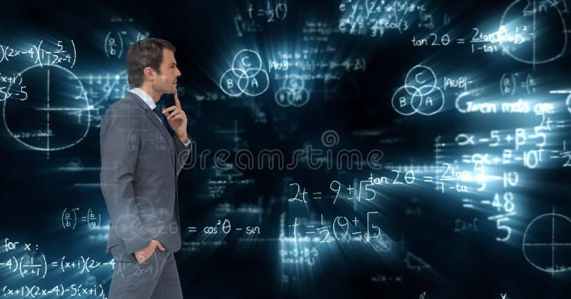 Sammansatt bild av affärsmannen mot matematikbakgrund royaltyfri fotografi