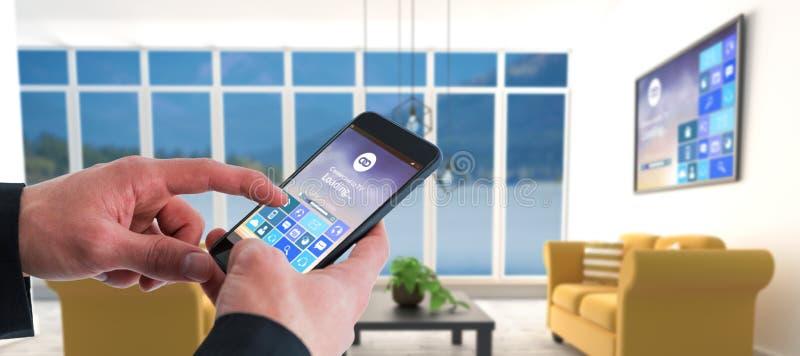 Sammansatt bild av affärsmannen som använder den smarta telefonen royaltyfri bild