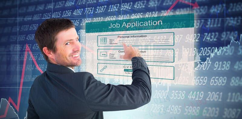 Sammansatt bild av affärsmannen som pekar med hans finger royaltyfri fotografi