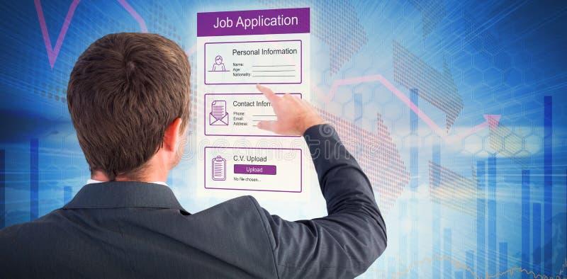 Sammansatt bild av affärsmannen som pekar med hans finger arkivbilder