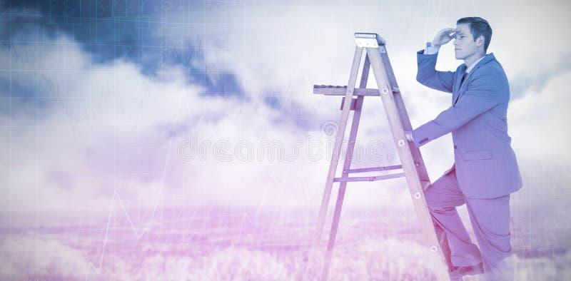 Sammansatt bild av affärsmannen som ser som är bort, medan klättra på stege fotografering för bildbyråer