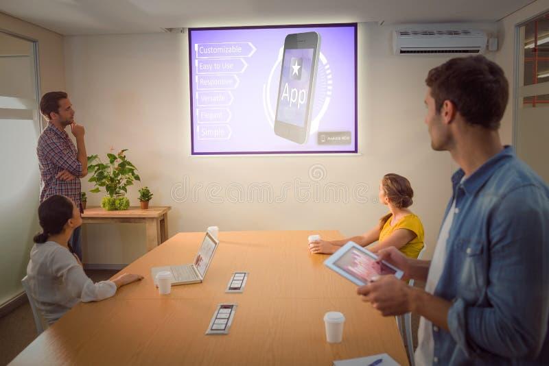 Sammansatt bild av annonsen för en ny applikation royaltyfria foton